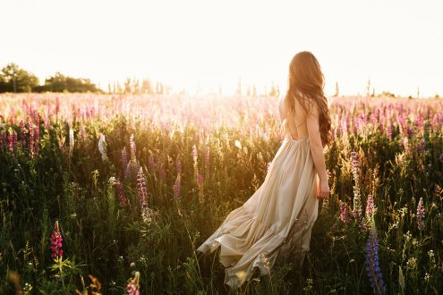 Young woman walking on flower field at sunset on background. Horizontal view with copy space.